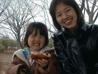 好きなパンと一緒に良い笑顔