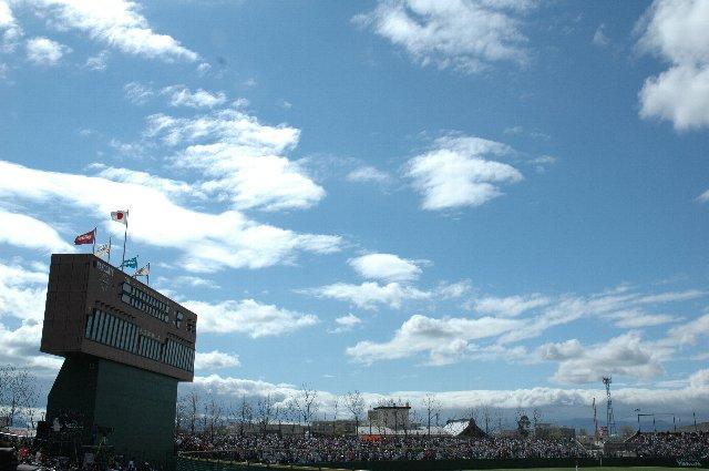 試合開始前に雨に降られたので、途中から青空が広がり始めたのは嬉しかったですね。
